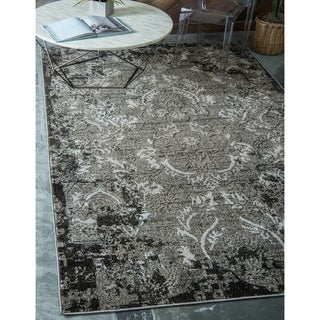 Transitional Abstract Light Grey Indoor/Outdoor Area Rug (9' x 12')