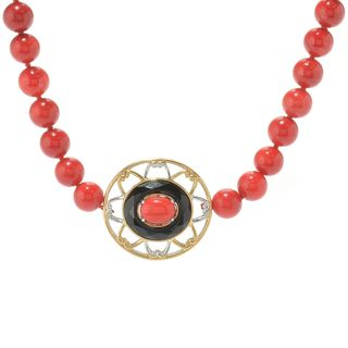 Michael Valitutti Palladium Silver Beaded Red Bamboo Coral & Onyx Station Necklace