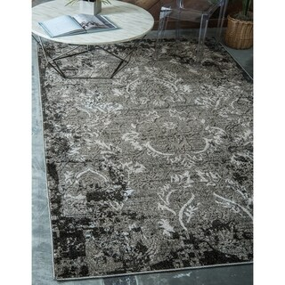 Transitional Abstract Light Grey Indoor/Outdoor Area Rug (8' x 10')