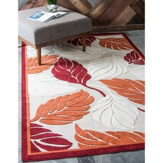 Transitional Nature Beige and Red Indoor/Outdoor Area Rug (8'x10')