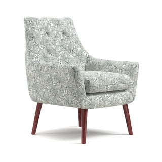Handy Living Dale Mid-Century Modern Blue Floral Arm Chair