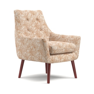 Handy Living Dale Mid-Century Modern Orange Floral Arm Chair