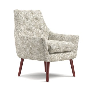 Handy Living Dale Mid-Century Modern Grey Floral Arm Chair