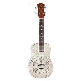 Luna Guitars Tiki Concert Resonator Ukulele w/ Case - Chrome