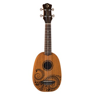 Luna Guitars Pineapple Soprano Ukulele, Mahogany Body w/ Tattoo Design & Gigbag - Satin Natural