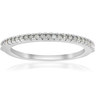 10k White Gold 1/10 ct TDW Pave Diamond Stackable Womens Wedding Ring (I-J,I2-I3)