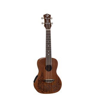 Luna Guitars Mo'o Concert Acoustic-Electric Ukulele, Solid Mahogany, Laser Etched Lizard w/ Gigbag