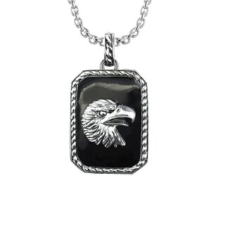Solid Sterling Silver Enamel Biker Eagle with 24 inch Curb Necklace for Father's Day, Birthday and Anniversary