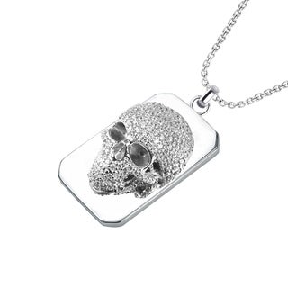 Sterling Silver White Cubic Zirconia Skull Necklace with 24 inch Curb Necklace for Father's Day, Anniversary and Birthday