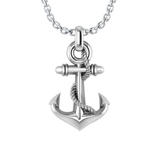Three-dimensional Stylish Anchor Necklace in .925 Sterling Silver