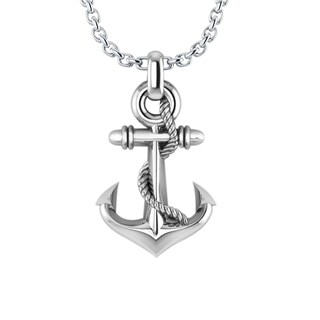 Solid Sterling Silver Three-dimensional Stylish Anchor Necklace with 24 Inch Curb Chain in .925 Sterling Silver for Father's Day