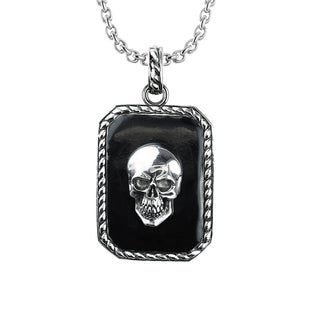 Solid Sterling Silver Necklace Skull Necklace with Border Detail for Birthday, Anniversary and Father's Day