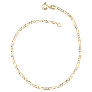Fremada Italian 14k Two-tone Gold Pave Figaro Chain Anklet (1.9mm, 10 inches)
