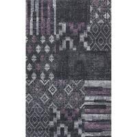 Dark Grey with Lavender & LT Grey Abstract Design Area Rug - 5'3 x 7'5