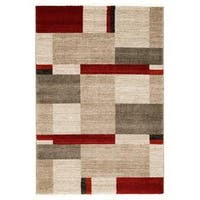 Beige with Red, Rust & Ivory Modern Design Area Rug - 5'3 x 7'5