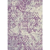 Lavender with Beige & Silver Contemporary Design Area Rug - 5'3 x 7'5