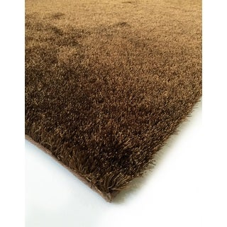 Hand Tufted Solid Brown Shag Area Rug (6'6 X 9'2)