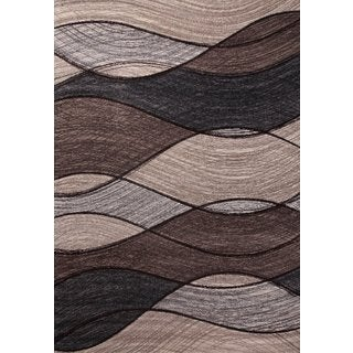 "Brown with Grey, Ivory & Chocolate Modern Area Rug Made In Turkey (5'.3"" X 7'5"") - 5'3 x 7'5"