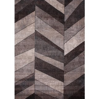 "Ivory, Beige & Silver, Chocolate Modern Area Rug Made In Turkey (5'.3"" X 7'5"") - 5'3 x 7'5"