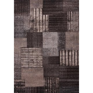 "Grey with Beige, Ivory & Chocolate Modern Area Rug Made In Turkey (5'.3"" X 7'5"") - 5'3 x 7'5"