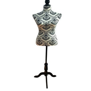 Stand Half-Length Fiberglass & Brushed Fabric Coating Lady Model for Clothing Display White Background & Black Pattern