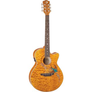 Luna Guitars FAUSWIFT Fauna Swift Cutaway Acoustic/Electric Guitar, Rosewood Fingerboard - Translucent Toffee