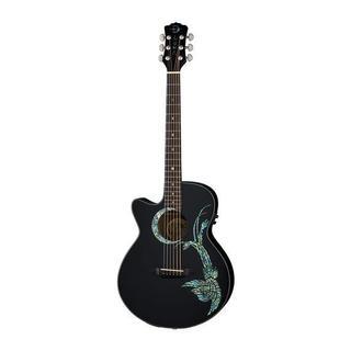 Luna Guitars Fauna Phoenix Left-Handed Acoustic/Electric Guitar, Rosewood Fingerboard - Black