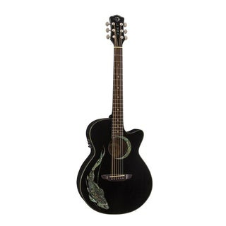 Luna Guitars FAUKOI Fauna Folk Koi Acoustic/Electric Guitar, Rosewood Fingerboard - Classic Black