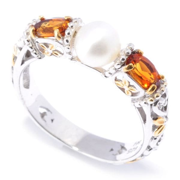 Michael Valitutti Palladium Silver Freshwater Cultured Pearl & Madeira Citrine Band Ring