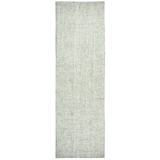 Rizzy Home Hand-tufted Brindleton Solid Green Wool Runner Area Rug (2'6 x 10')