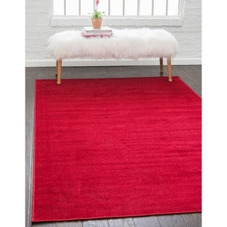 Tribeca Border Solid Red Fabric/Cotton Area Rug (10' x 13)