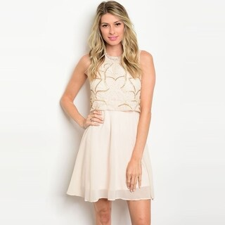 Shop The Trends Women's Sleeveless Sequin Mini Dress With Round Neckline And Full Lining