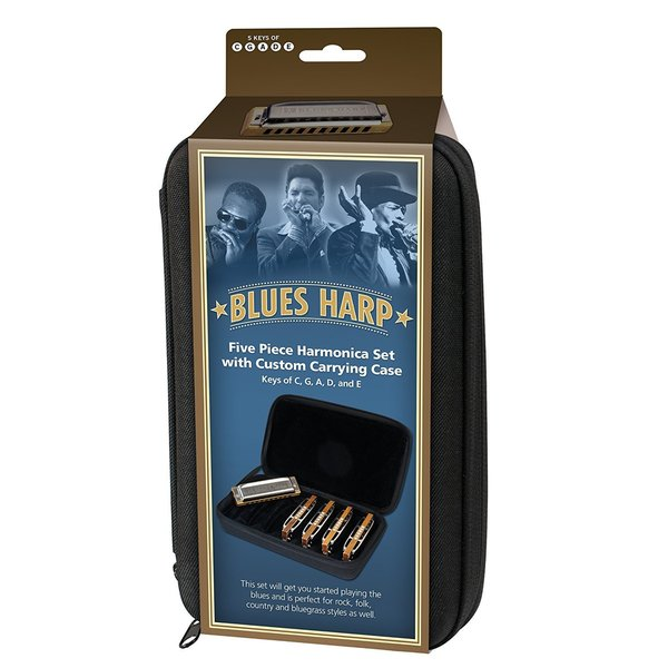 Hohner Case of Blues 5 Harmonica Bundle - Keys of G, A, C, D, and E