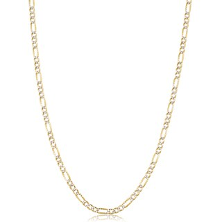 Fremada Italian 14k Two-tone Gold Pave Figaro Link Chain Necklace