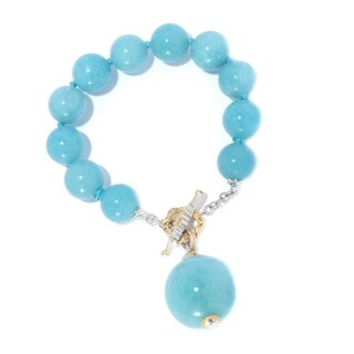 Michael Valitutti Palladium Silver Aqua Color Dyed Quartz Bead Toggle Bracelet w/ Drop Charm