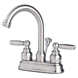 Contemporary Two Handle High Arc Centerset Lavatory Faucet with Pop-Up Drain