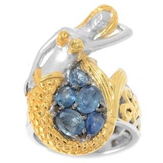 Michael Valitutti Palladium Silver Ceylon Blue Sapphire Sculpted Mermaid Ring
