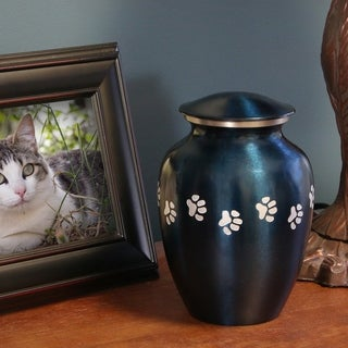 Small Blue Brass Paw Print Pet Urn