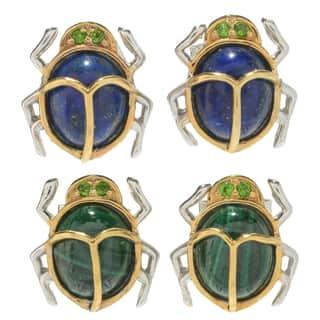 Michael Valitutti Palladium Silver Cleopatra Chrome Diopside & Multi Gemstone Scarab Beetle Stud Earrings https://ak1.ostkcdn.com/images/products/16324203/P22686800.jpg?impolicy=medium
