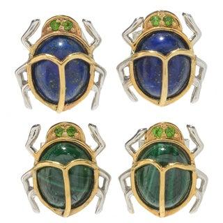 Michael Valitutti Palladium Silver Cleopatra Chrome Diopside & Multi Gemstone Scarab Beetle Stud Earrings