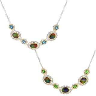 Michael Valitutti Palladium Silver Ammolite Triplet & Gemstone Necklace