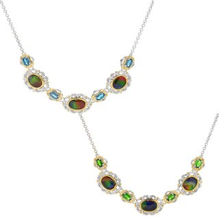 Michael Valitutti Palladium Silver Ammolite Triplet & Gemstone Necklace|https://ak1.ostkcdn.com/images/products/16324236/P22686801.jpg?impolicy=medium