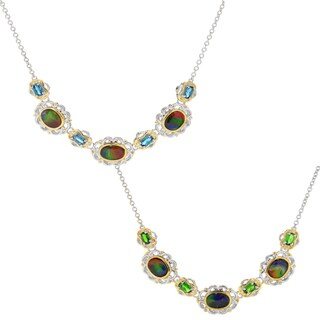 Michael Valitutti Palladium Silver Ammolite Triplet & Gemstone Necklace