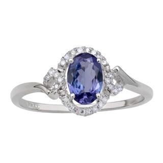 Viducci 10k White Gold Genuine Tanzanite and 1/6ct TDW Diamond Halo Ring (G-H, I1-I2) - Blue