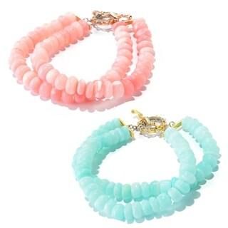 Michael Valitutti Palladium Silver Pink/Blue Peruvian Opal Beaded Two-Row Toggle Bracelet