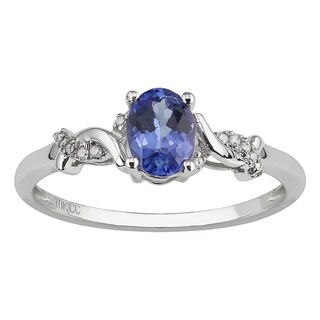 Viducci 10k White Gold Oval Tanzanite and Braided Diamond Accent Ring