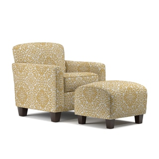 Handy Living Lincoln Park Gold Damask Arm Chair and Ottoman