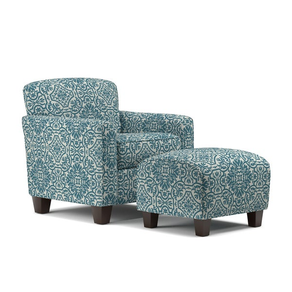 Shop Handy Living Lincoln Park Blue Damask Arm Chair And