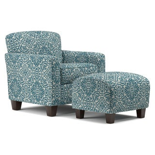 Handy Living Lincoln Park Blue Damask Arm Chair and Ottoman