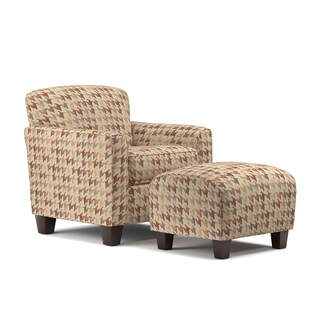Handy Living Lincoln Park Orange Houndstooth Arm Chair and Ottoman